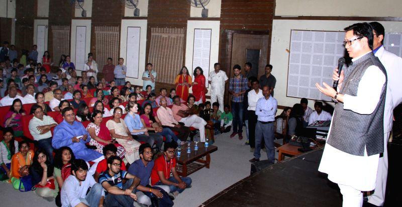 The Union MoS for Home Affairs Kiren Rijiju addresses the Hans Raj College Alumni, at University of Delhi, in New Delhi on March 26, 2015.