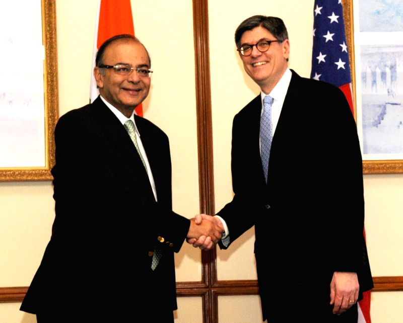 The US Secretary for Treasury Jacob Lew meets the Union Minister for Finance, Corporate Affairs and Information, and Broadcasting Arun Jaitley, in New Delhi on Feb 12, 2015.