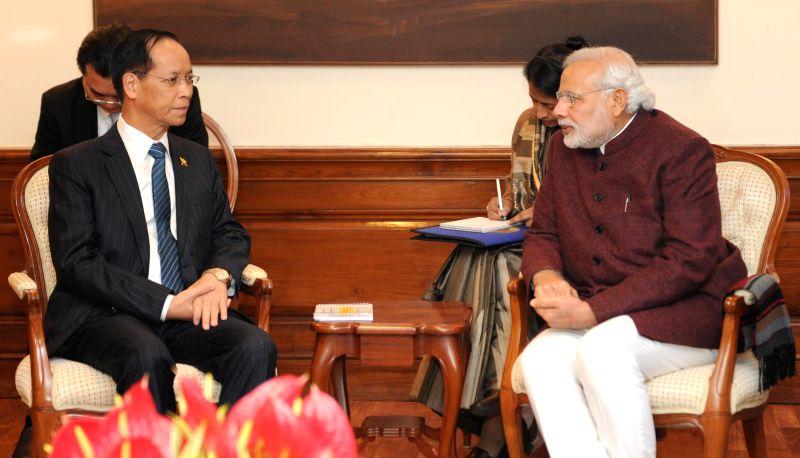 The Vice President of Myanmar, Dr. Sai Mauk Kham calls on the Prime Minister Narendra Modi, in New Delhi on Jan 21, 2015. - Narendra Modi