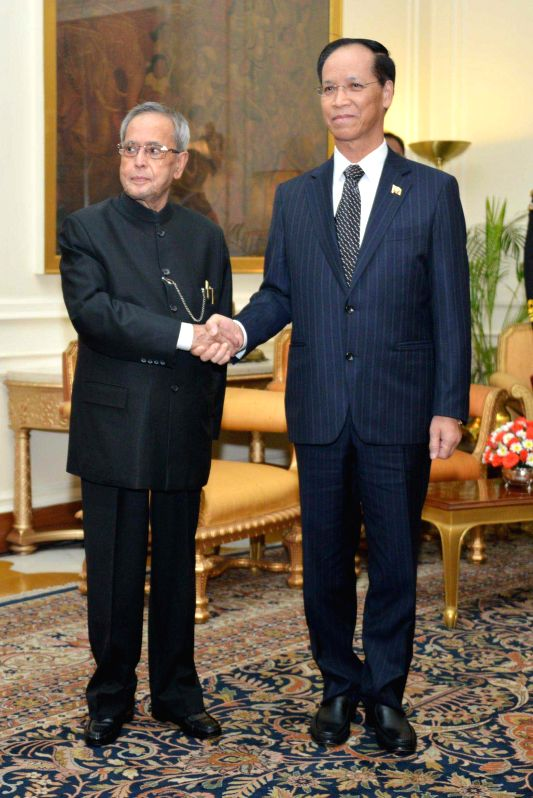 The Vice President of Myanmar, Dr. Sai Mauk Kham calls on the President Pranab Mukherjee, in New Delhi on Jan 21, 2015. (Photo I ANS/ R B) - Pranab Mukherjee