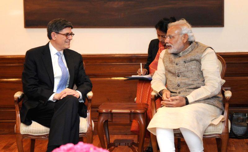 Treasury Secretary of the United States Jacob Lew calls on the Prime Minister Narendra Modi, in New Delhi on Feb 12, 2015. - Narendra Modi
