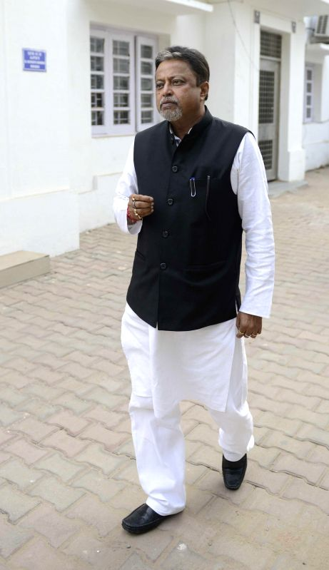 Trinamool Congress' All India General Secretary and Rajya Sabha member, Mukul Roy outside his residence at South Avenue in New Delhi on Feb 18, 2015.