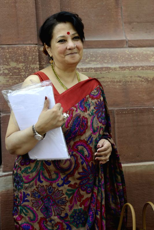 Trinamool Congress MP Moon Moon Sen at the Parliament house in New Delhi, on April 29, 2015.