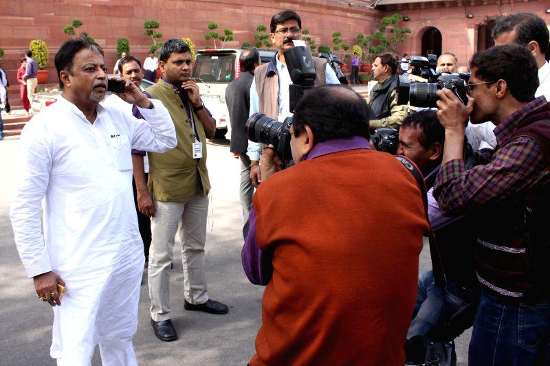 Trinamool Congress MP Mukul Roy at the Parliament in New Delhi, on Feb 27, 2015. - Mukul Roy