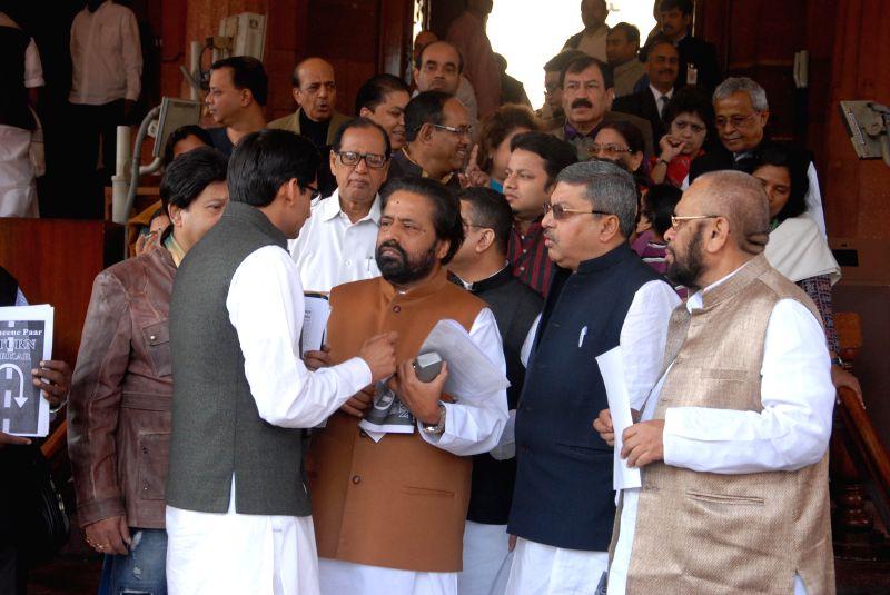 Trinamool Congress Sudip Bandyopadhyay at the parliament premises in New Delhi, on Dec 2, 2014.