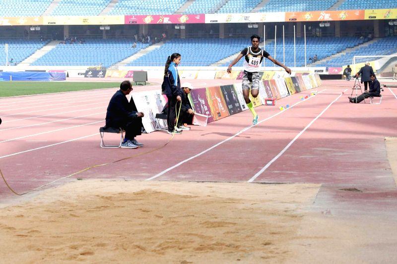 :New Delhi: Triple Jump Boys winner C Praveen during Khelo India School Games at the Jawaharlal Nehru Stadium in New Delhi on Jan 31, 2018. C Praveen won with 15.22 metres in his sixth jump. ...
