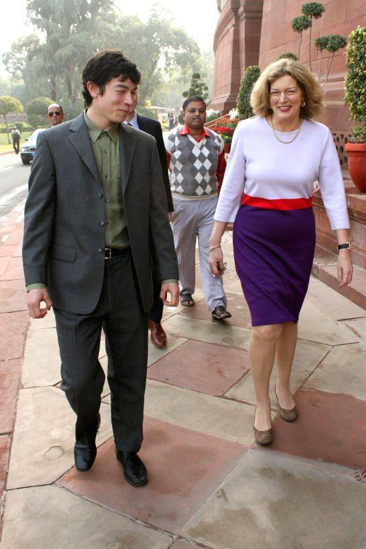 U.S. Ambassador Kathleen Stephens at the Parliament premises in New Delhi, on Dec 15, 2014.