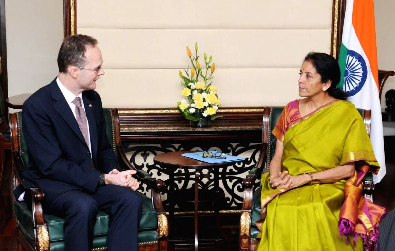 UK Trade and Investment chief executive Dominic Jermey calls on the Union Minister of State for Commerce and Industry (Independent Charge), Nirmala Sitharaman, in New Delhi on Feb 11, ...