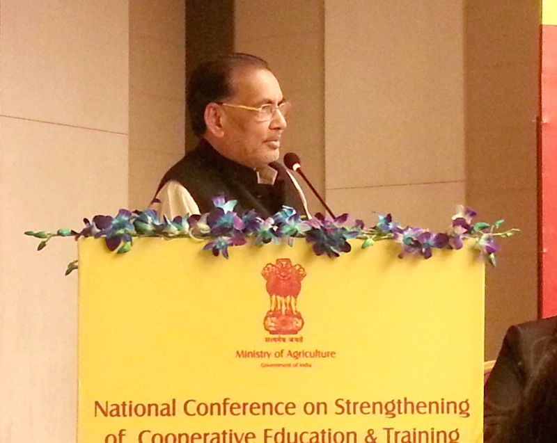 Union Agriculture Minister Radha Mohan Singh addresses at the `National conference on Strengthening of Cooperative - Education and Training system`, in New Delhi on Jan 20, 2015.