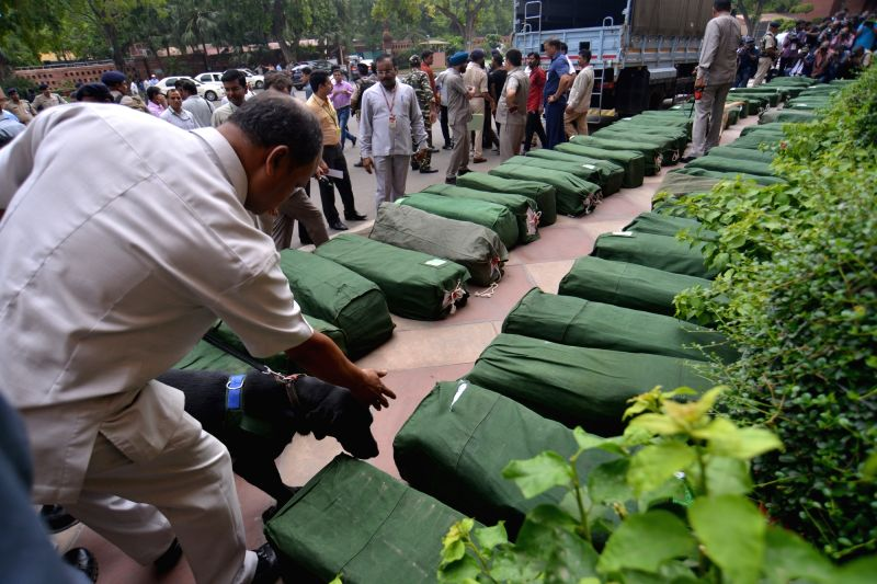 New Delhi: Union Budget 2019-20 documents arrive at Parliament House premises under tight security, in New Delhi on July 5, 2019.