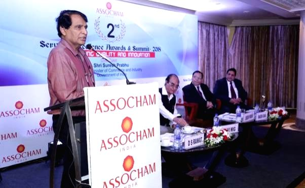 : New Delhi: Union Commerce and Industry and Civil Aviation Minister Suresh Prabhakar Prabhu addresses at the 2nd Services Excellence Awards and Summit – 2018, in New Delhi on July 25, 2018. ...