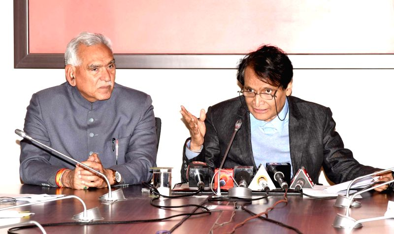 New Delhi: Union Commerce and Industry Minister Suresh Prabhu and Union MoS Commerce and Industry C.R. Chaudhary addresses a press conference, in New Delhi, on Feb 19, 2019. (Photo: IANS/PIB)