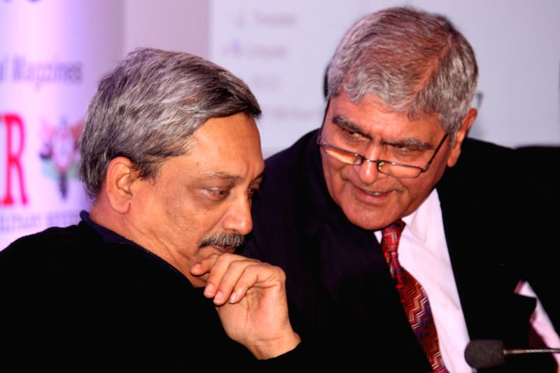 Union Defence Manohar Parrikar at an ASSOCHAM conference on `Aerospace, Defence and Homeland Security` in New Delhi, on Jan 5, 2015.