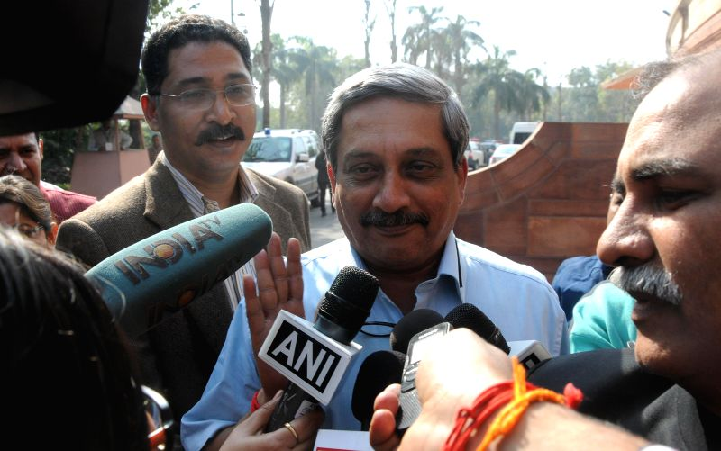 Union Defence Minister Manohar Parikkar interacts with press at the Parliament premises in New Delhi, on Nov 25, 2014. - Manohar Parikkar