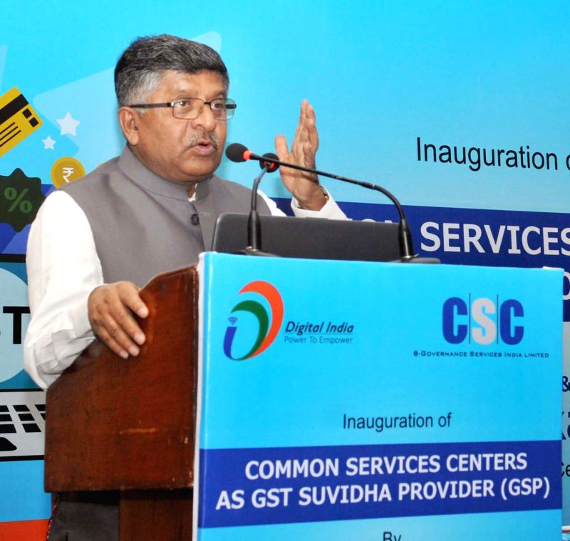 New Delhi : Union Electronics and Information Minister Ravi Shankar Prasad addresses at inauguration of a workshop for Common Service Centres (CSC) to enable them to smoothly roll-out GST services, ... - Ravi Shankar Prasad