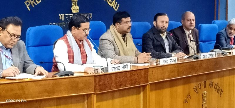 New Delhi: Union Environment, Forest and Climate Change and Information and Broadcasting Minister Prakash Javadekar, Union Petroleum & Natural Gas and Steel Minister Dharmendra Pradhan and Union Parliamentary Affairs Minister Pralhad Joshi at a Cabin