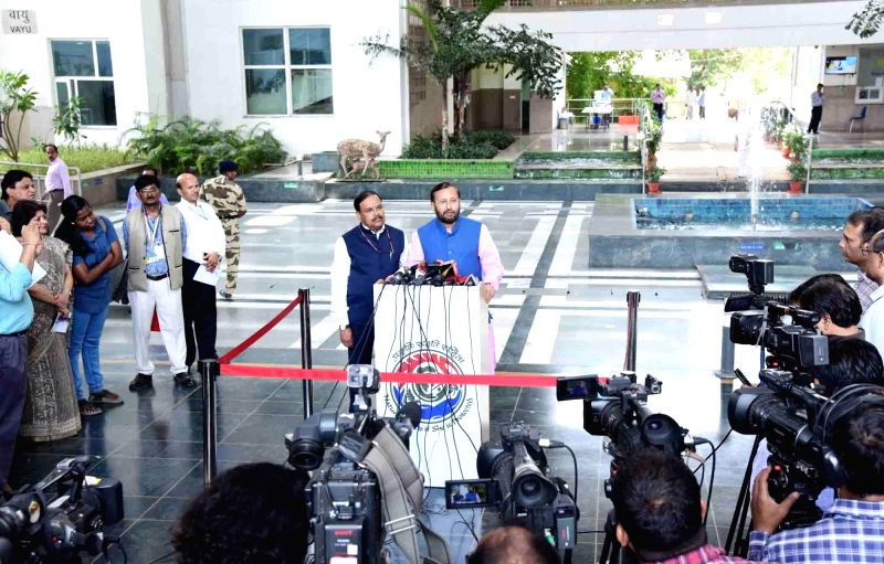 """New Delhi: Union Environment, Forest and Climate Change Minister Prakash Javadekar talks to media persons after launching """"#SelfieWithSapling"""" campaign on the eve World Environment Day, in New Delhi on June 4, 2019. (Photo: IANS/PIB)"""