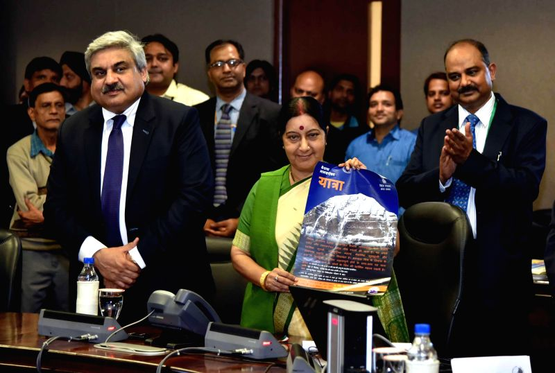 Union External Affairs Minister Sushma Swaraj announces Kailash Manasarovar Yatra-2015 and launches KMY website and bilingual Interactive Voice Response System (IVRS) in New Delhi on Feb ...