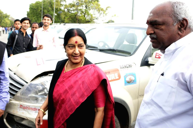 Union External Affairs Minister Sushma Swaraj during a programme organised on the culmination of Indio-Nepal Car Rally at India Gate in New Delhi, on March 8, 2015.