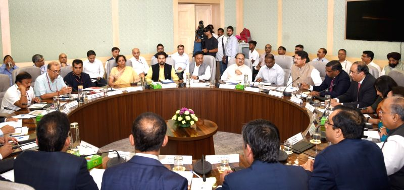 New Delhi: Union Finance and Corporate Affairs Minister Nirmala Sitharaman and Union MoS Finance and Corporate Affairs Anurag Singh Thakur chair a meeting with the representatives of Industry Sector, in New Delhi on Aug 8, 2019. Also seen NITI Aayog