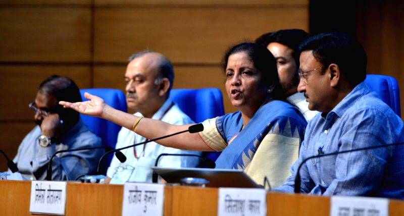 New Delhi: Union Finance and Corporate Affairs Minister Nirmala Sitharaman addresses a press conference in New Delhi on Aug 23, 2019.