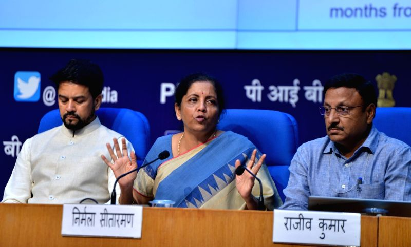 New Delhi: Union Finance and Corporate Affairs Minister Nirmala Sitharaman addresses a press conference in New Delhi on Aug 23, 2019. Also seen Union MoS Finance and Corporate Affairs Anurag Thakur and other dignitaries.