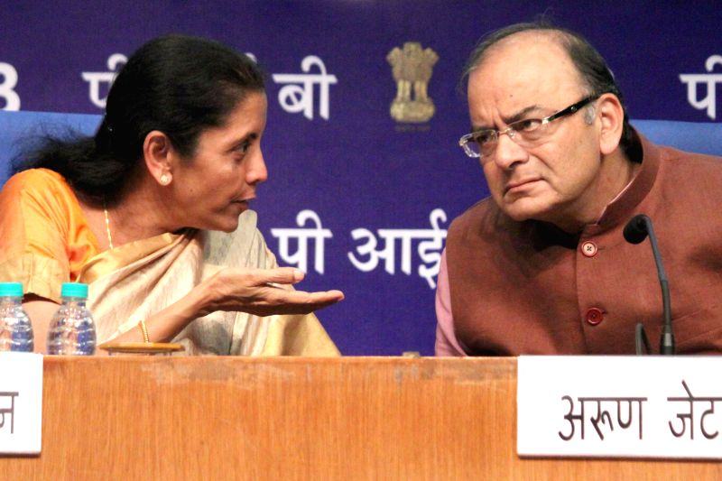 Union Finance Minister Arun Jaitley with Union Minister of State for Commerce and Industry (Independent Charge) Nirmala Sitharaman at the launch of 11 Central Government Services on eBiz ... - Arun Jaitley
