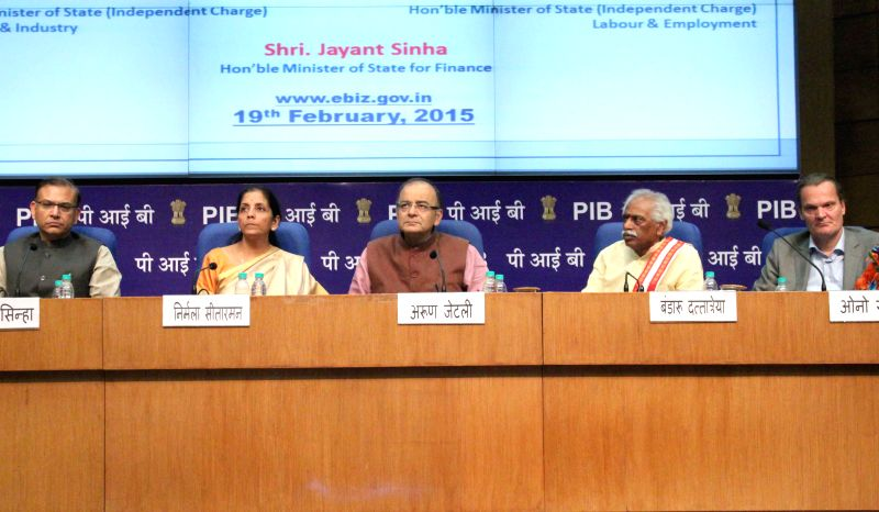 Union Finance Minister Arun Jaitley with Union Minister of State for Commerce and Industry (Independent Charge) Nirmala Sitharaman, Union MoS Finance Jayant Sinha,  the Union Minister of ... - Arun Jaitley and Jayant Sinha