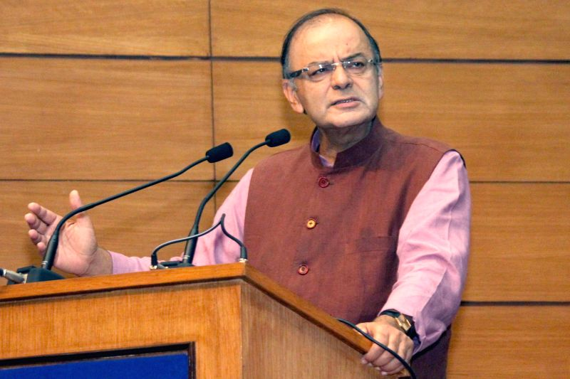 Union Finance Minister Arun Jaitley at the launch of 11 Central Government Services on eBiz Portal in New Delhi, on Feb 19, 2015. - Arun Jaitley