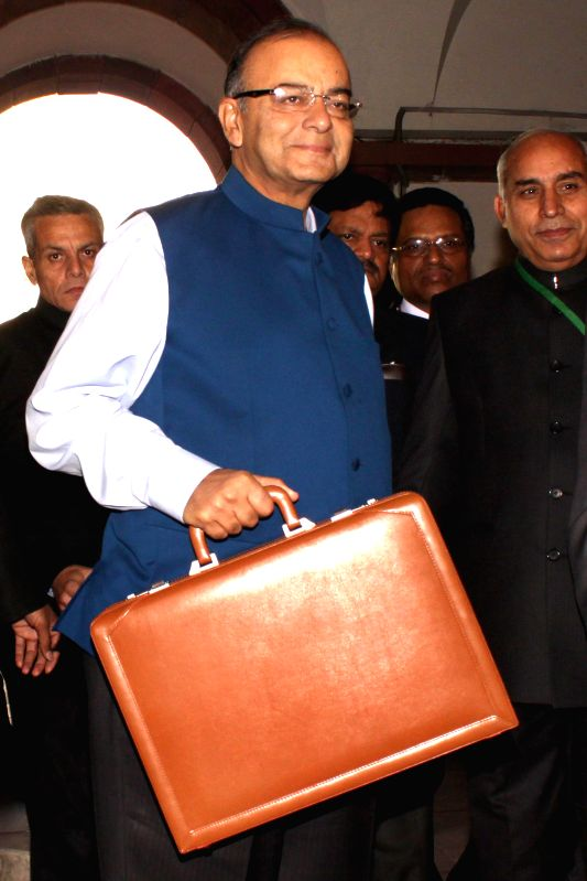 Union Finance Minister Arun Jaitley at the Parliament House to present national budget 2015-16 on Feb 28, 2015. - Arun Jaitley