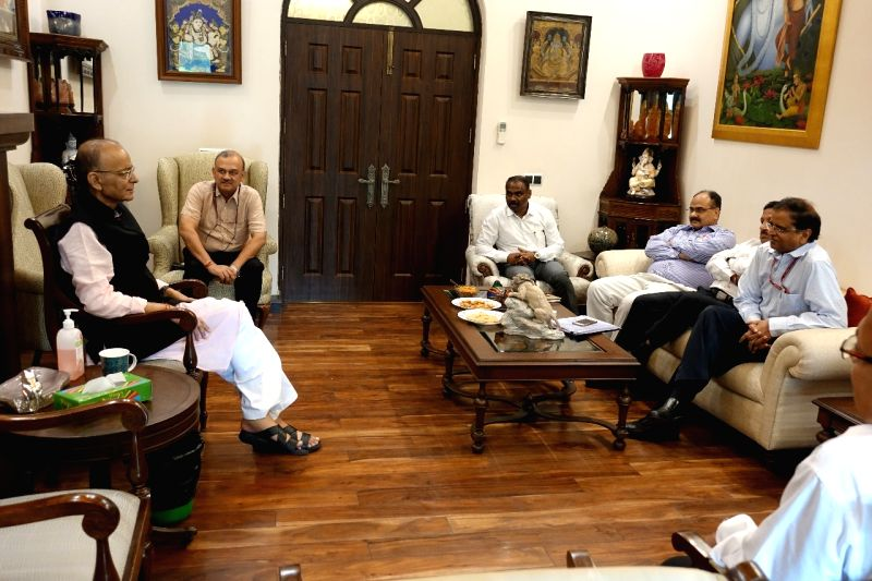 New Delhi: Union Finance Minister Arun Jaitley meets all the five secretaries of his ministry as well as the chairpersons of the two apex tax bodies CBDT and CBIC in New Delhi, on May 24, 2019. (Photo: IANS)