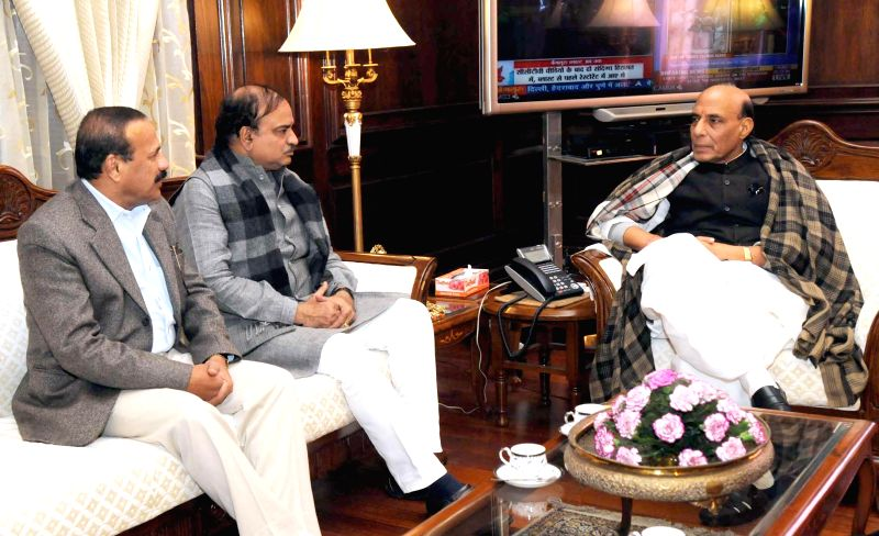Union Home Minister Rajnath Singh during a meeting with Union Minister for Law and Justice D.V. Sadananda Gowda and Union Minister for Chemicals and Fertilizers Ananthkumar regarding ...
