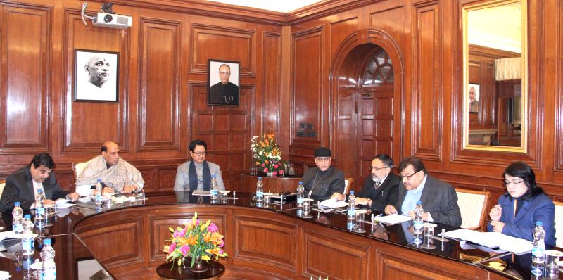 Union Home Minister Rajnath Singh during a meeting with the Senior Officers of MHA, CPWD and CAPFs regarding housing for the personnel of Central Armed Police Forces (CAPFs), in New Delhi .