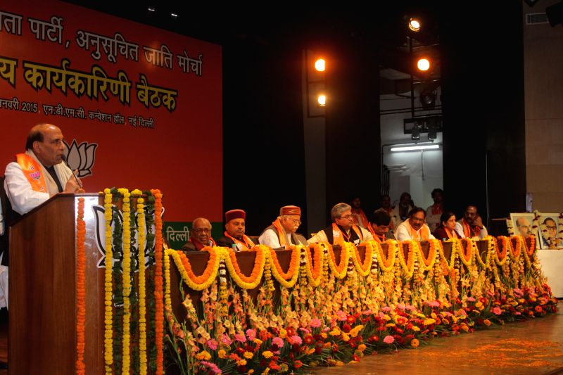 Union Home Minister Rajnath Singh addresses during the inauguratation of BJP`s national executive meeting on Schedule Caste Morcha in New Delhi on Jan 3, 2015. - Rajnath Singh