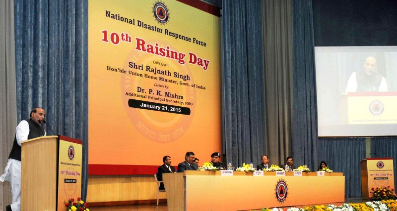 Union Home Minister Rajnath Singh addresses at the 10th Raising Day celebrations of the NDRF, in New Delhi on Jan 21, 2015. (Photo : IANS/PIB)