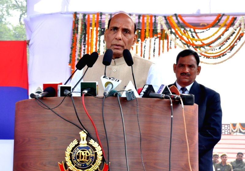 Union Home Minister Rajnath Singh addresses at the 68th Raising Day of Delhi Police, in New Delhi on Feb 16, 2015.