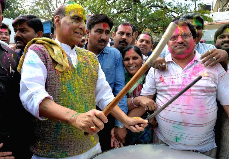 Union Home Minister Rajnath Singh celebrates Holi in New Delhi, on March 6, 2015.