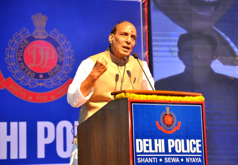 Union Home Minister Rajnath Singh addresses at the Delhi Police's International Women's Day programme, in New Delhi on March 8, 2015.