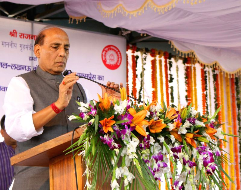 Union Home Minister Rajnath Singh during a programme organised to flag-off Lucknow-Anand Vihar Double Decker Express at Anand Vihar Terminal railway station in New Delhi, on April 26, ... - Rajnath Singh