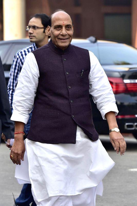 Union Home Minister Rajnath Singh at the Parliament premises in New Delhi, on Dec 16, 2014. - Rajnath Singh