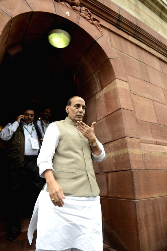Union Home Minister Rajnath Singh at the Parliament during the budget session in New Delhi, on March 2, 2015. - Rajnath Singh