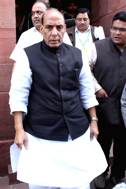 Union Home Minister Rajnath Singh at the Parliament in New Delhi, on March 4, 2015. - Rajnath Singh