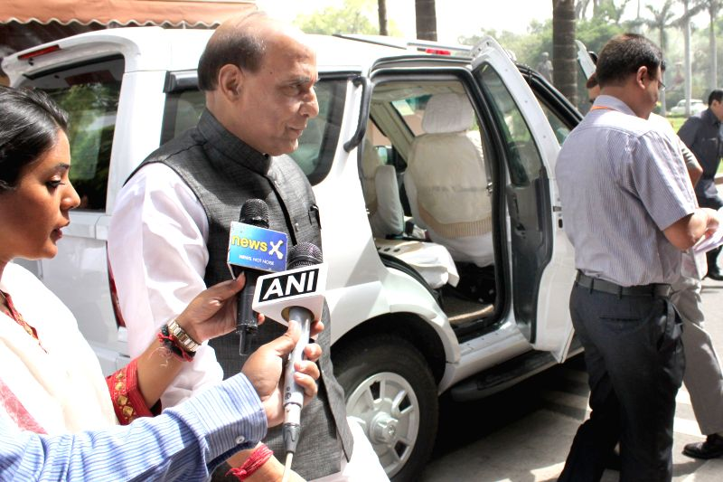 Union Home Minister Rajnath Singh at Parliament House on April.20, 2015. - Rajnath Singh