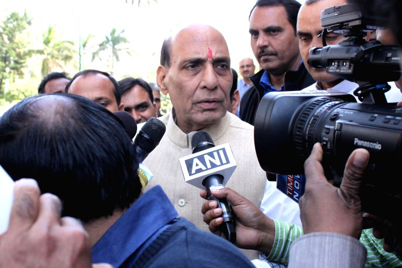 Union Home Minister Rajnath Singh talks to press at the Parliament in New Delhi, on March 9, 2015. - Rajnath Singh