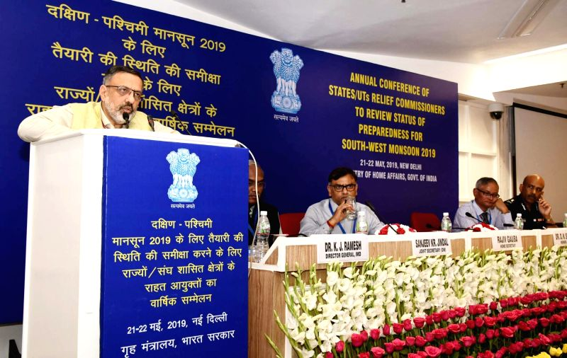 New Delhi: Union Home Secretary Rajiv Gauba addresses the inaugural session of the two-day Annual Conference of States/UTs Relief Commissioners/Secretaries (Disaster Management) to review the status of preparedness for South West monsoon 2019, in New