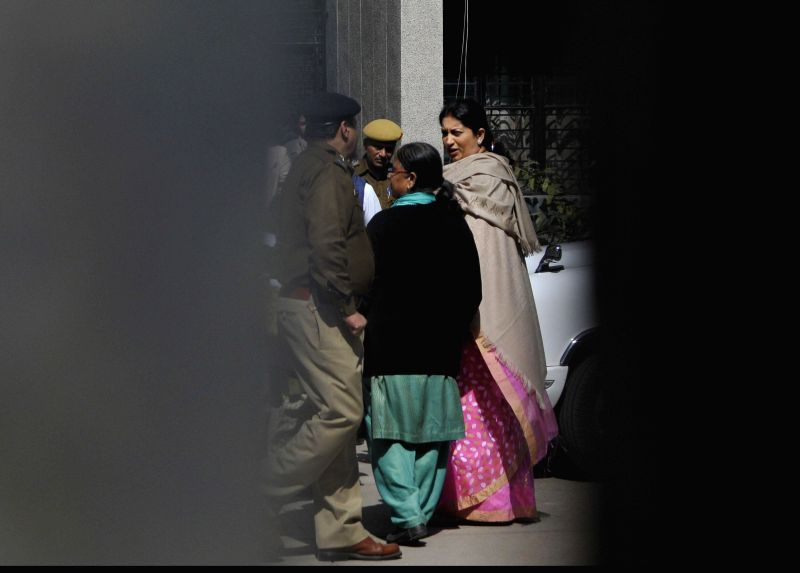 Union HRD Minister arrives at Holy Child Auxilium school that was ransacked by an unidentified group in New Delhi, on Feb 13, 2015. She is an alumna of the school.