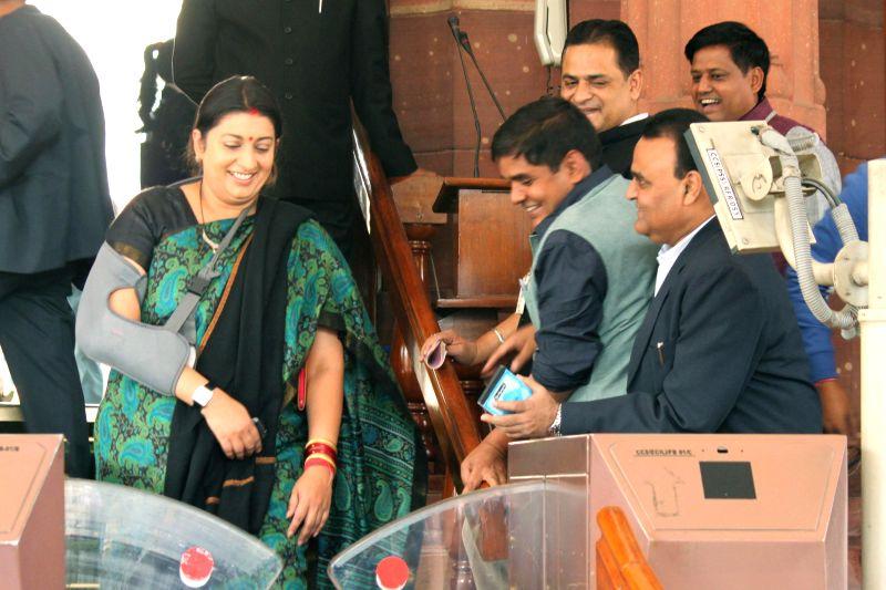 Union HRD Minister Smriti Irani at the Parliament premises in New Delhi, on Nov 28, 2014. - Smriti Irani