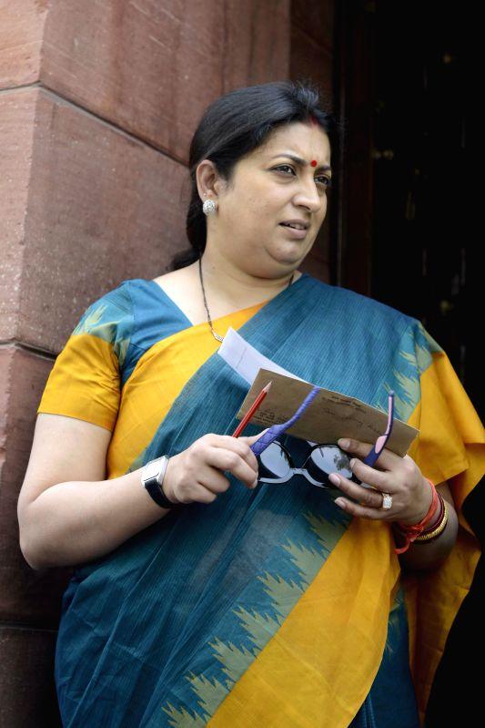 Union HRD Minister Smriti Irani at the Parliament house in New Delhi, on April 29, 2015. - Smriti Irani