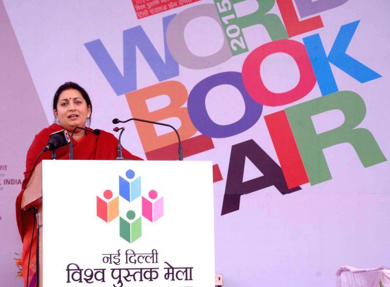 Union Human Resource Development Minister Smriti Irani addressea at the inauguration of the World Book Fair-2015, organised by the National Book Trust of India, in New Delhi on Feb 14, ... - Smriti Irani