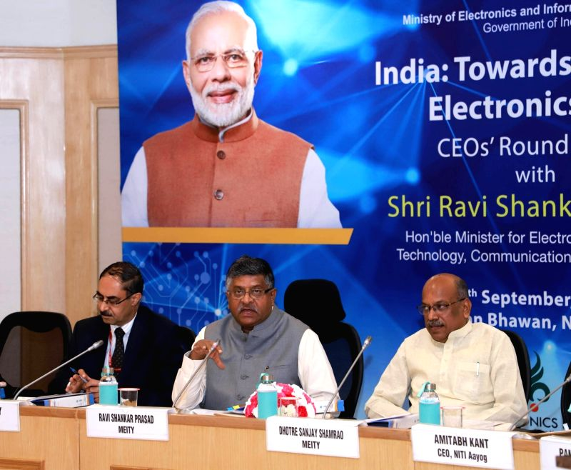 New Delhi: Union Law and Justice, Communications and Electronics and Information Technology Minister Ravi Shankar Prasad holds the round table discussions with the prominent CEOs of the Electronics Industry, in New Delhi on Sep 16, 2019. Also seen Un